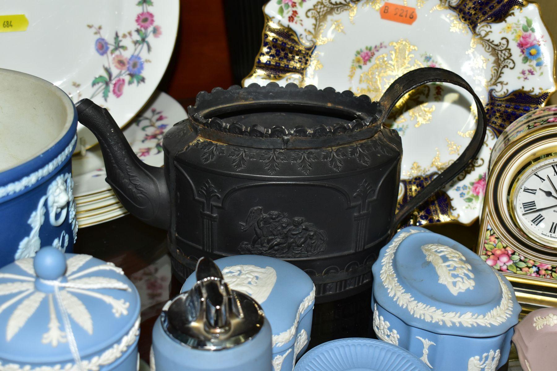 CERAMICS to include blue jasper ware trinkets, etc, Wedgwood Clio clock, black basalt teapot with - Image 3 of 8
