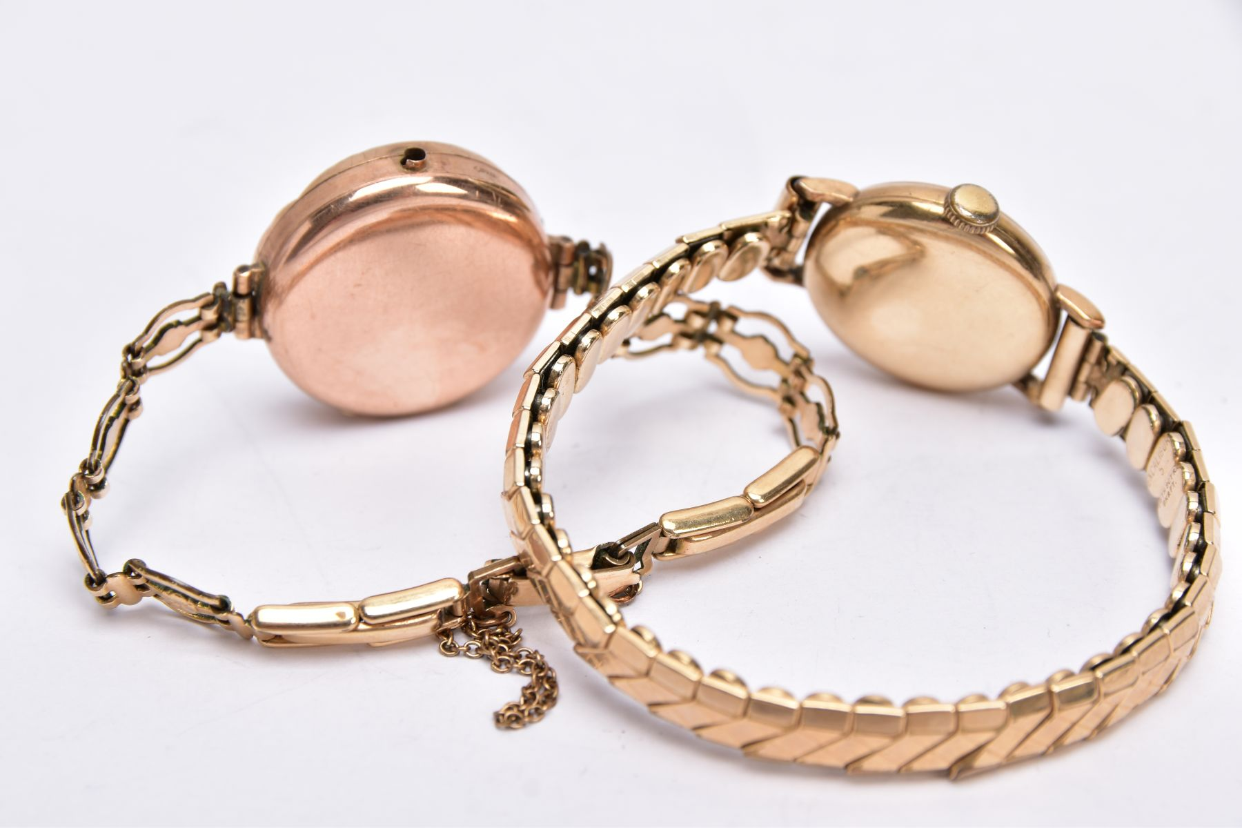 TWO GOLD CASED LADIES WRISTWATCHES, each fitted to gold plated bracelets, an early 20th century - Image 3 of 4