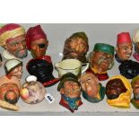 VARIOUS BOSSONS HEAD PLAQUES AND OTHER CERAMICS, to include Dunheved bud vase, handpainted fruit