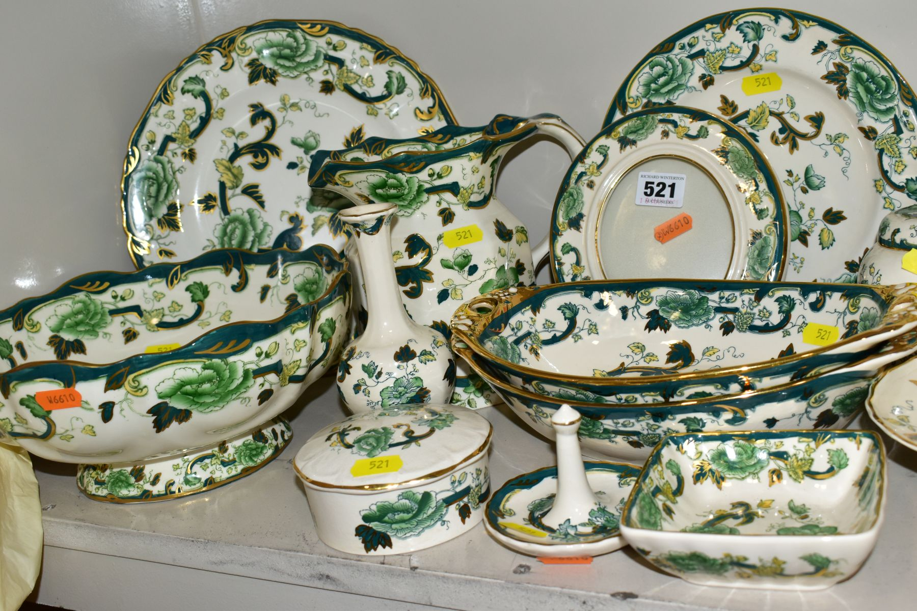A COLLECTION OF MASONS IRONSTONE 'CHARTREUSE' PATTERN PLATES, JUGS, BOWLS, GINGER JARS, etc, - Image 7 of 7
