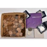 A BOX OF UK COINAGE to include a carded Royal Mint 2006 Elizabeth II 80th Birthday five pound