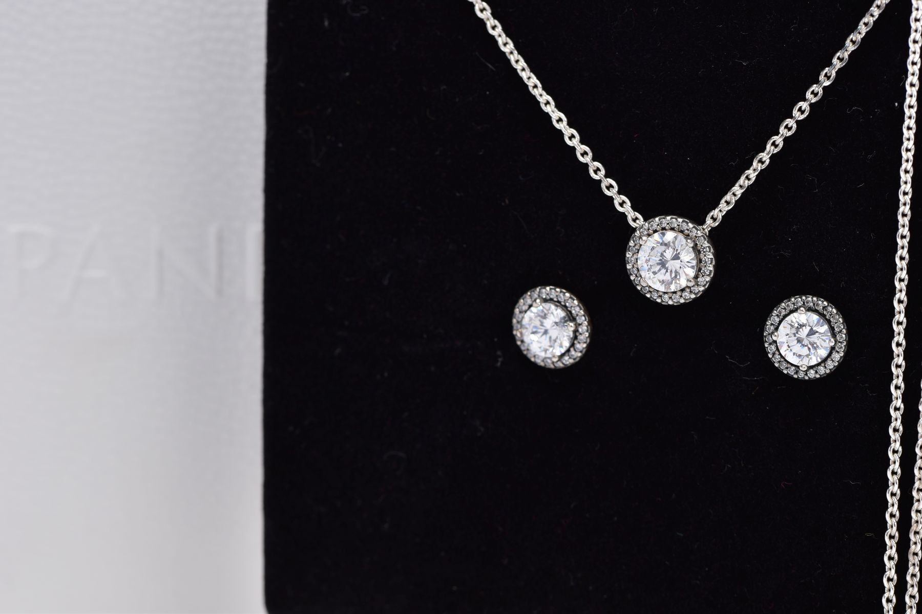 A PANDORA NECKLACE AND EARRING GIFT SET, the necklace designed with a cubic zirconia halo set - Image 2 of 3