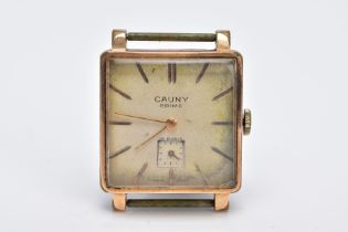A GOLD PLATED GENTS 'CAUNY PRIMA' WRISTWATCH, hand wound movement, square design discoloured dial