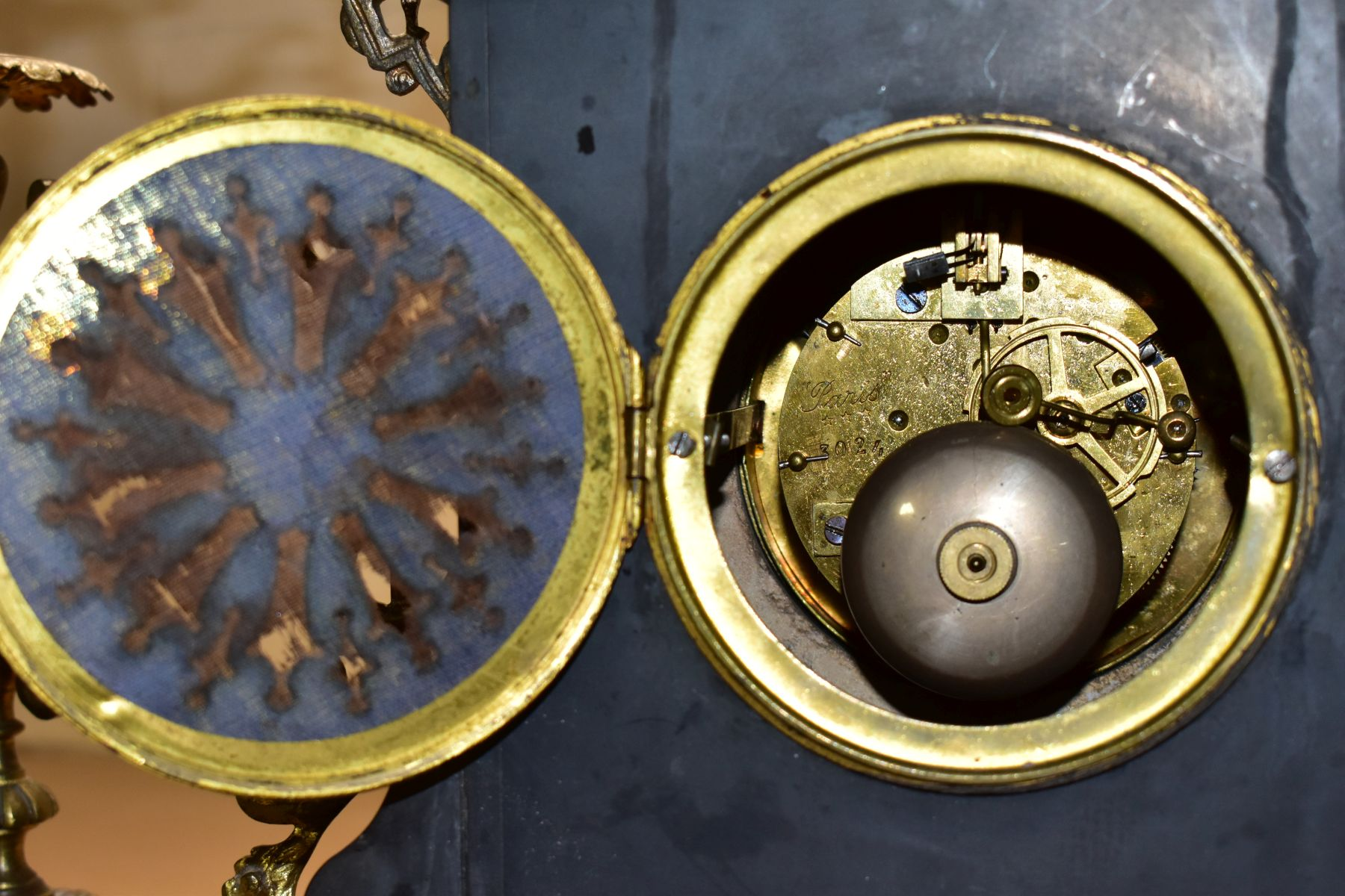 A LATE 19TH CENTURY BLACK SLATE, MARBLE AND GILT METAL CLOCK GARNITURE, the clock with urn shaped - Image 12 of 13
