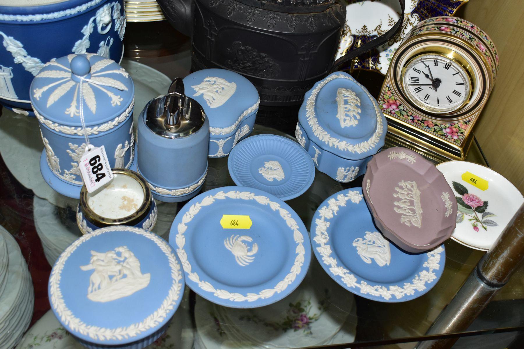 CERAMICS to include blue jasper ware trinkets, etc, Wedgwood Clio clock, black basalt teapot with - Image 8 of 8