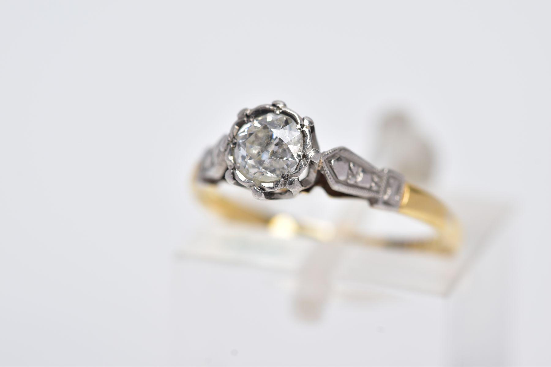 A YELLOW METAL SINGLE STONE DIAMOND RING, collet set, old cut diamonds, total estimated diamond