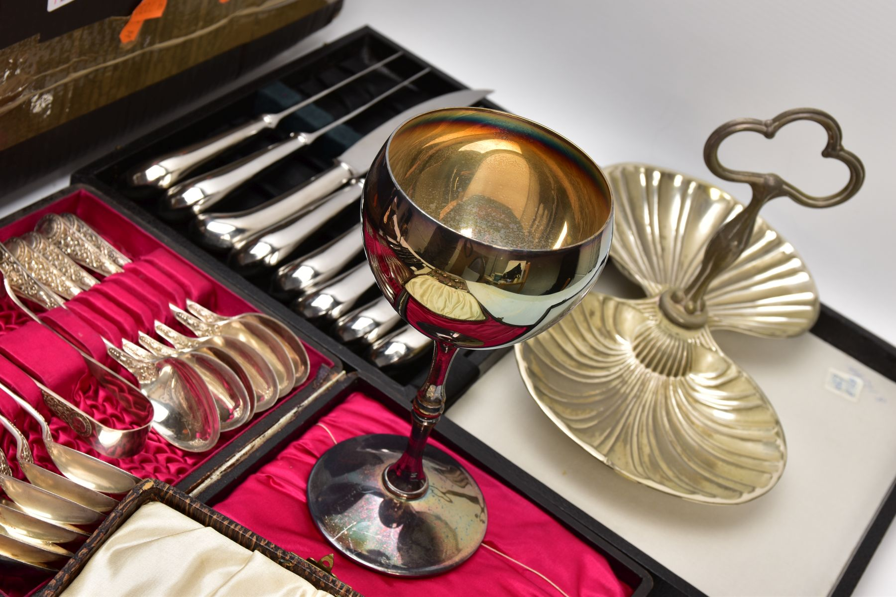 A BOX OF ASSORTED METALWARE, to include three cased set of knives,, a cased set of six EPNS coffee - Image 3 of 7