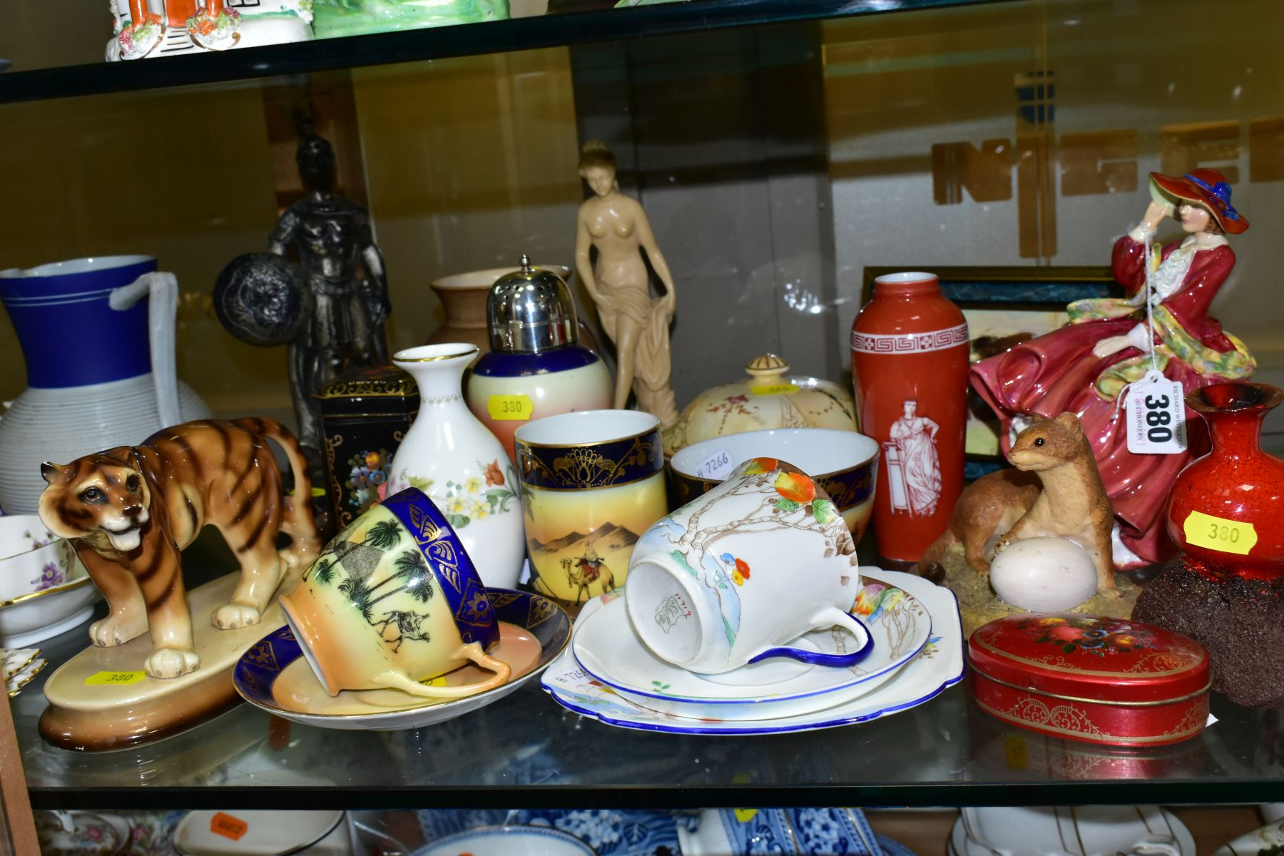 A GROUP OF CERAMICS, TINS etc, to include Royal Doulton figure 'Top O'the Hill' HN1834, Shelley