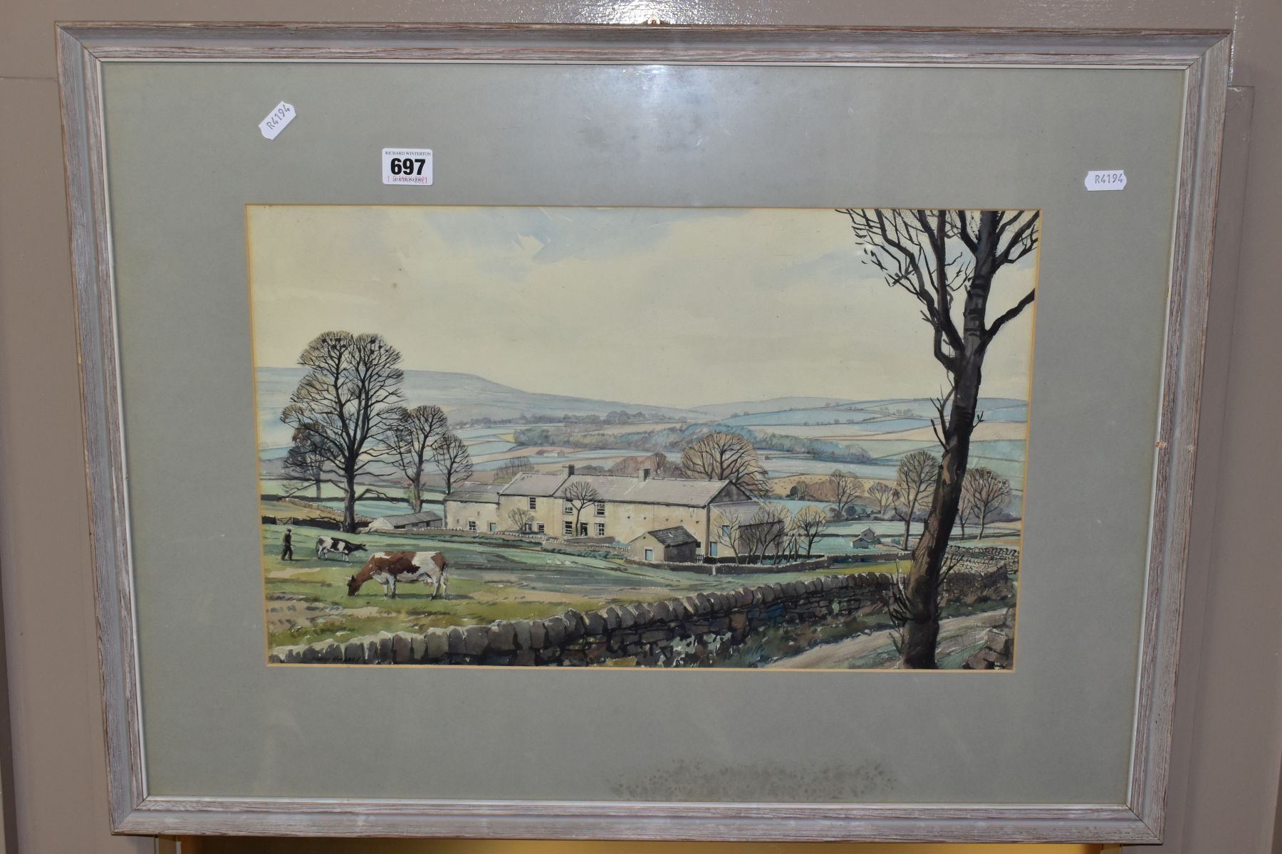 WALTER HORSNELL (1911-1997) a rural landscape with farm buildings to the mid distance, signed bottom