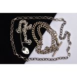 A SILVER ALBERT CHAIN, NECKLACE AND BRACELET, the graduated albert chain fitted with a T-bar, fitted
