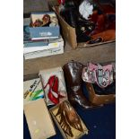 A QUANTITY OF LADIES SHOES AND HANDBAGS, EVENING BAGS, BOXED AND LOOSE, including a boxed pair of