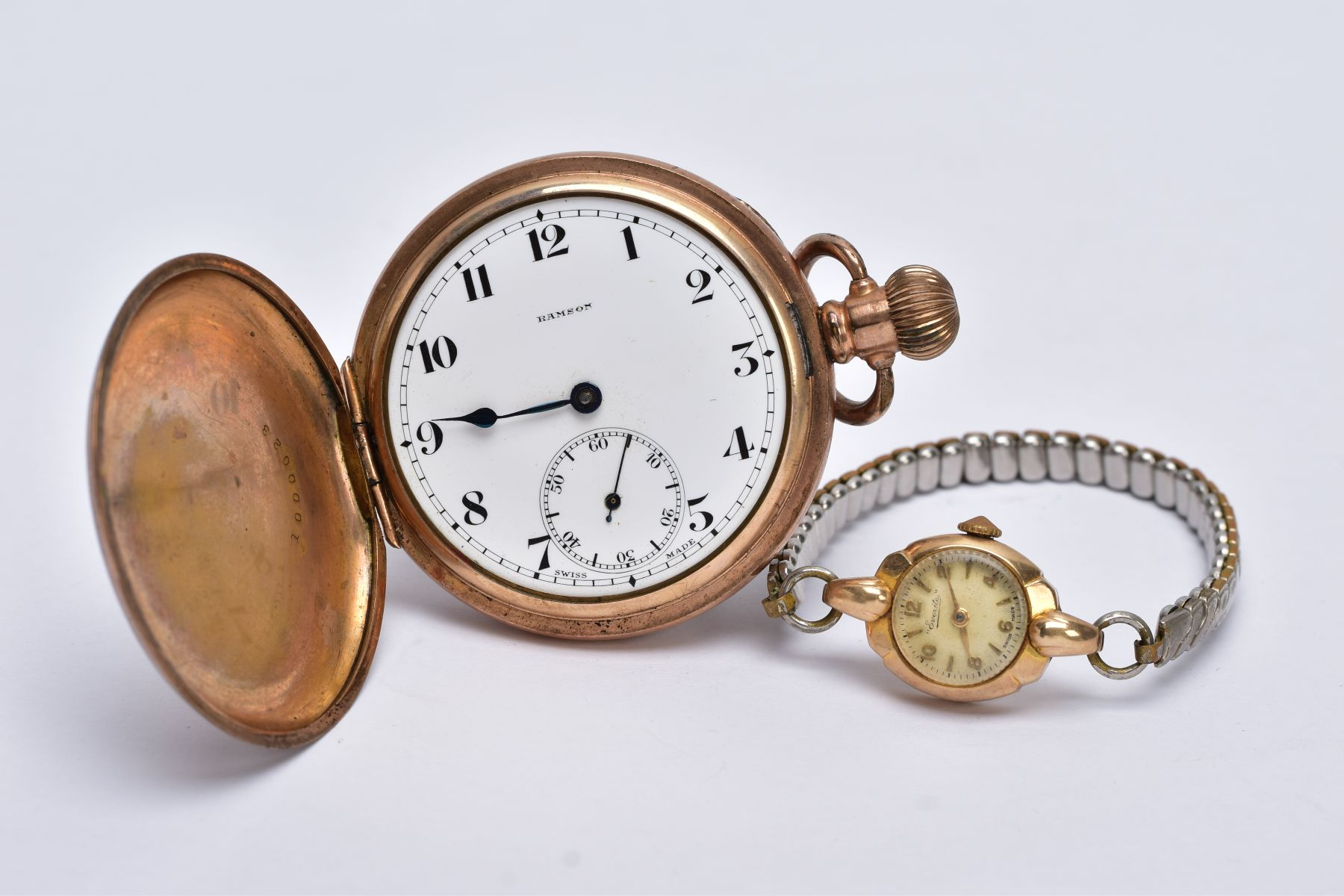 A LADIES 9CT GOLD CASED WRISTWATCH AND A GOLD PLATED POCKET WATCH, the ladies wristwatch with a