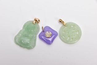 THREE JADE PENDANTS, the first a carved Buddha, fitted with a tapered bail, stamped '14k', the