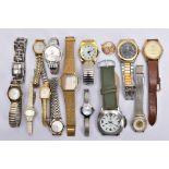 FOURTEEN ASSORTED WRISTWATCHES, mostly quartz movements, with names such as 'Limit, Sekonda,