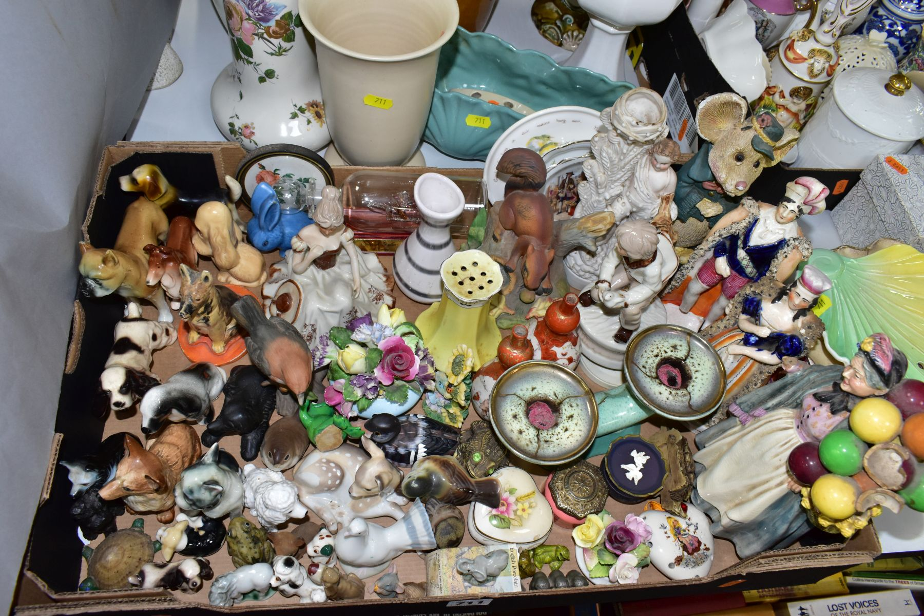 TWO BOXES AND LOOSE CERAMICS AND GLASSWARE, including animal bird and figural ornaments, two - Image 4 of 10