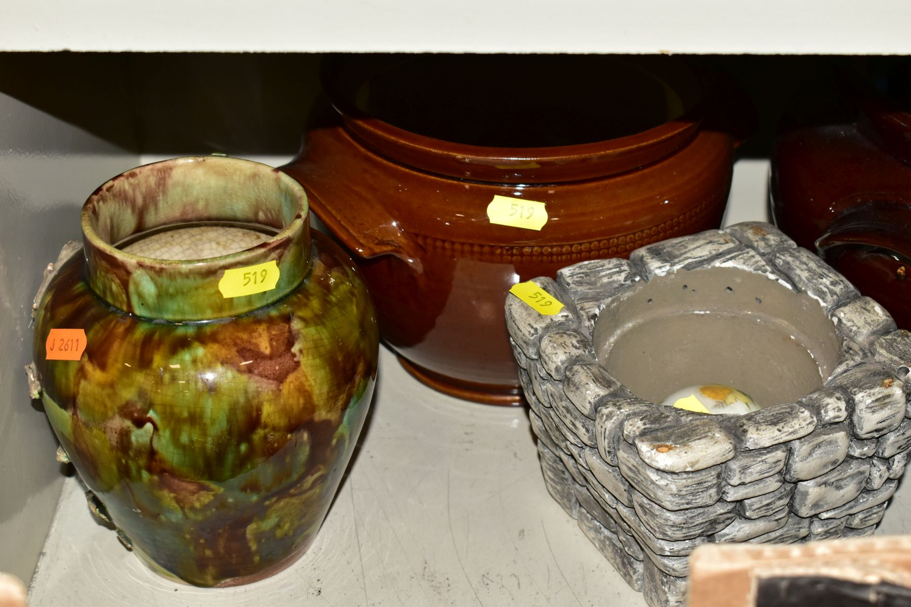 TWO BOXES AND LOOSE STONEWARE etc, including Hillstonia, Studio pottery, stoneware jugs and flagons, - Image 4 of 8