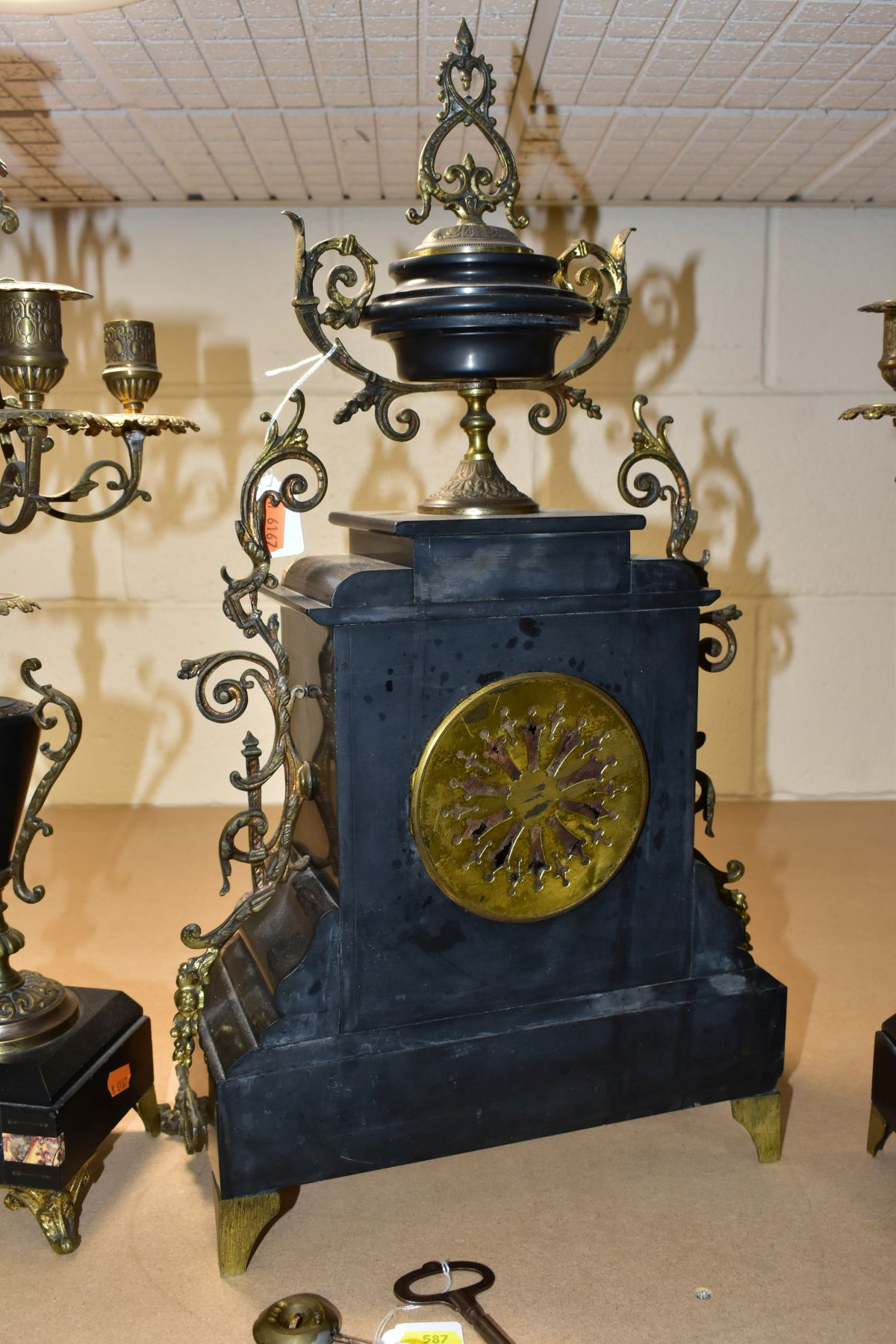 A LATE 19TH CENTURY BLACK SLATE, MARBLE AND GILT METAL CLOCK GARNITURE, the clock with urn shaped - Image 11 of 13