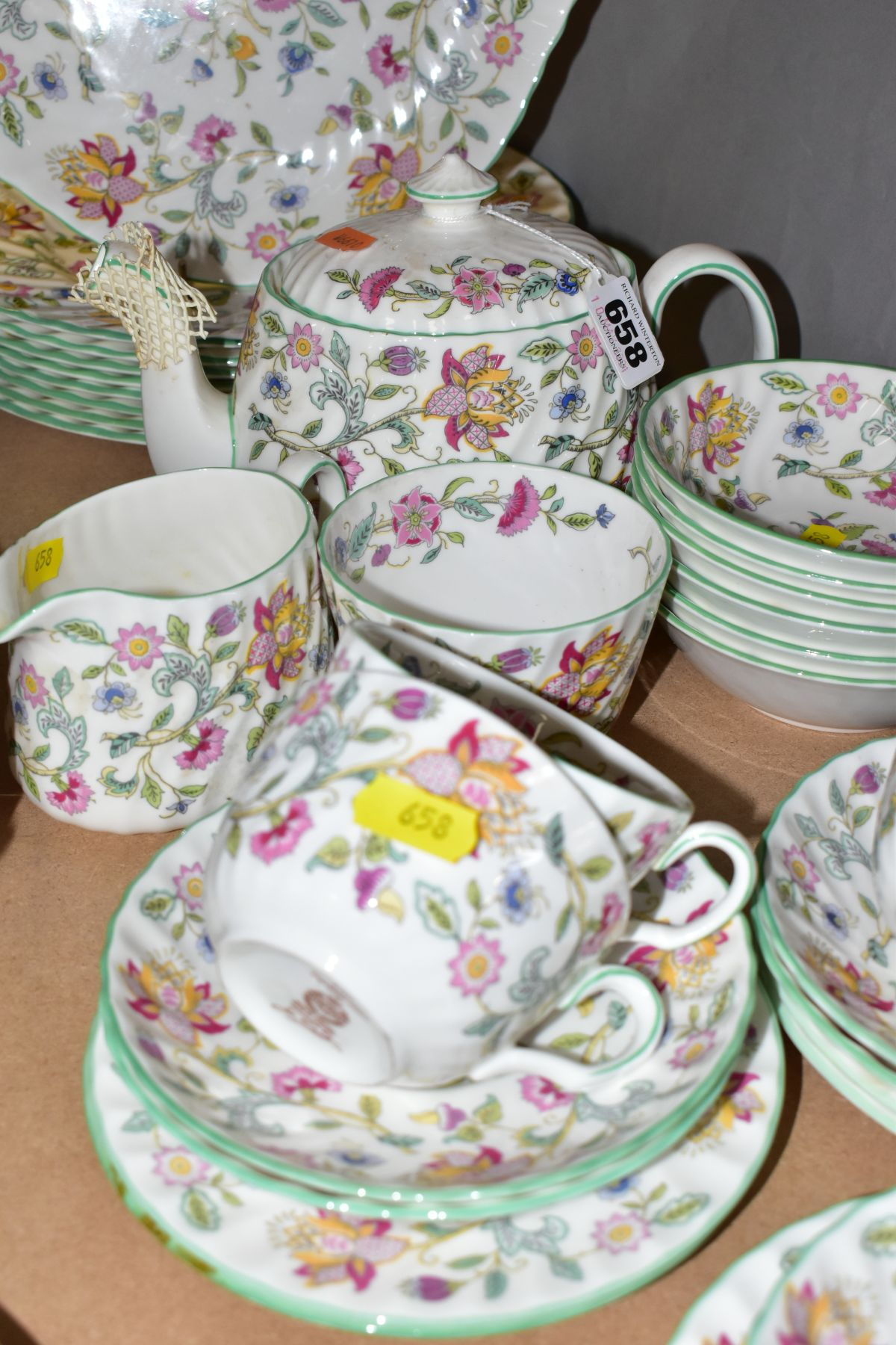 A MINTON 'HADDON HALL' PATTERN PART DINNER SERVICE, ETC, comprising teapot and cover, milk jug, - Image 3 of 6