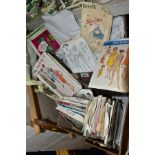 TWO BOXES OF TABLE LINEN, DRESS PATTERNS AND A TAPESTRY FRAME, linen includes various size table