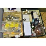 THREE SMALL BOXES OF SMALL TOOLS, BEARINGS AND DENTAL EQUIPMENT, including drill bits and parts,