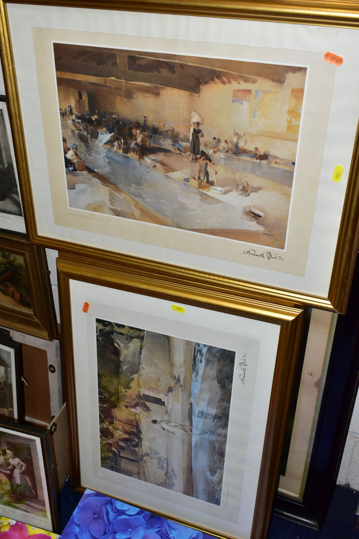PAINTINGS AND PRINTS, ETC, to include an unsigned oil on canvas depicting a sleeping night watchman, - Image 5 of 7