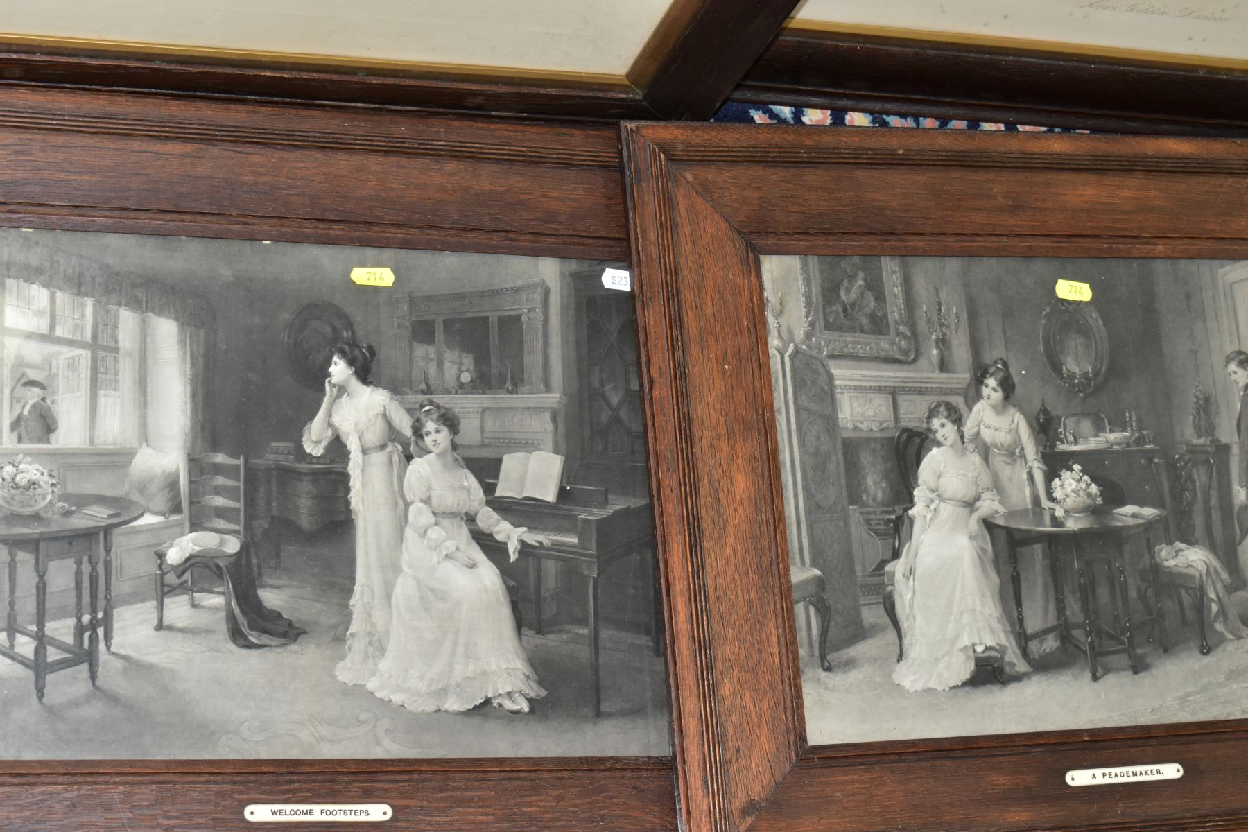 EARLY 20TH CENTURY OAK FRAMED MONOCHROME PRINTS, comprising 'For King and Country' by Graham - Image 4 of 4