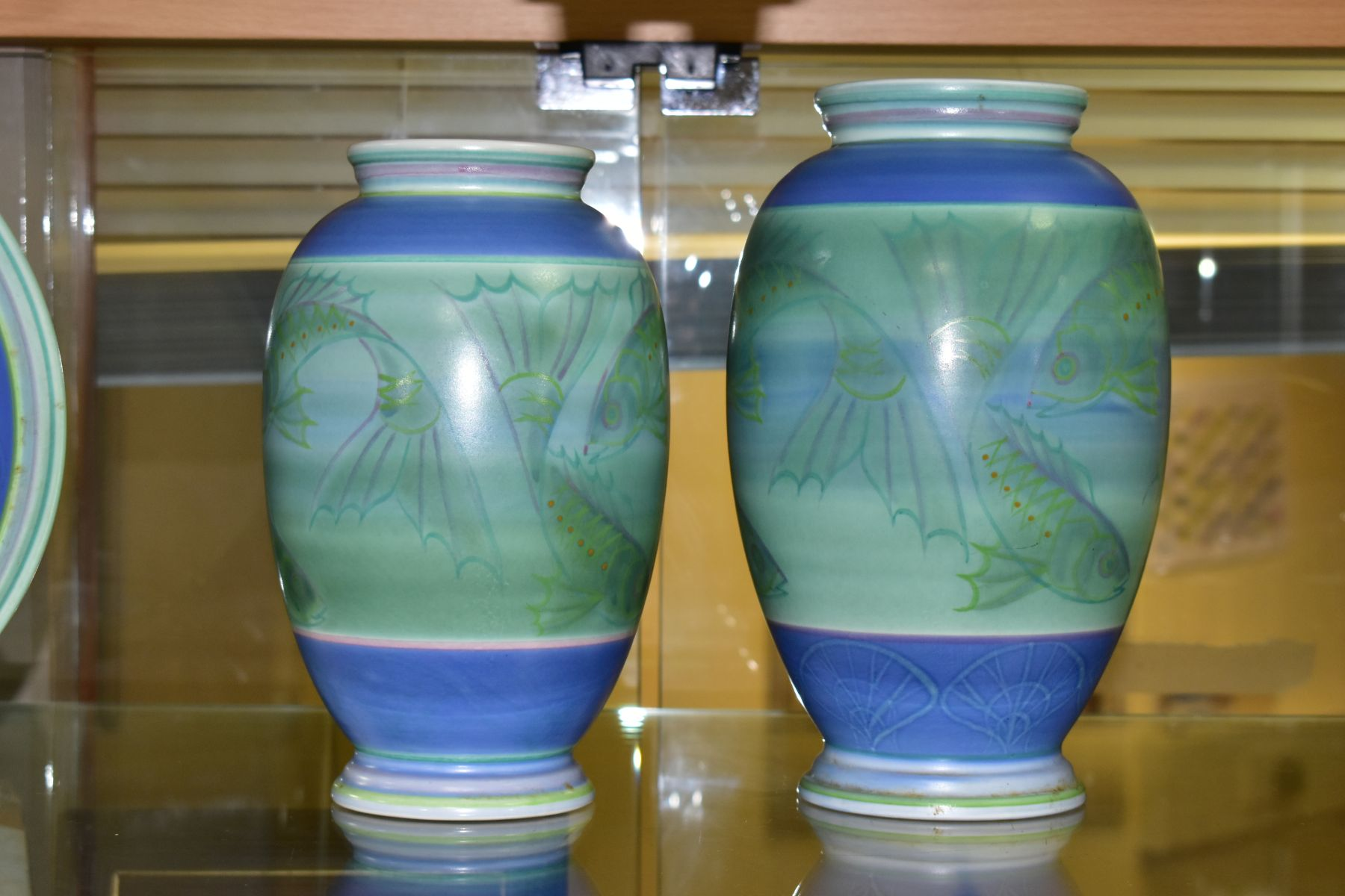A POOLE STUDIO SALLY TUFFIN BALUSTER VASE AND MATCHING JAR, the baluster vase handpainted with bands - Image 4 of 7