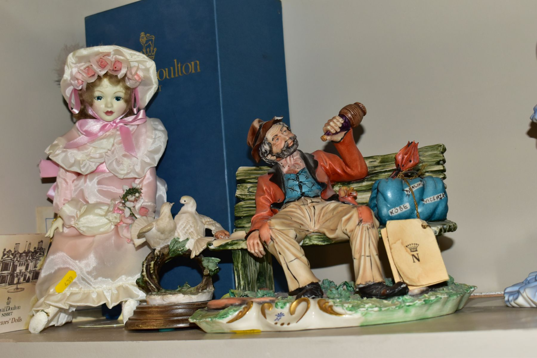 A GROUP OF CERAMIC FIGURES AND ORNAMENTS, including Capo Di Monte tramp on a bench, elderly - Image 11 of 16