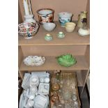 TWO BOXES AND LOOSE CERAMICS, GLASSWARE AND STUDIO POTTERY to include a box of (mostly Sainsburys)