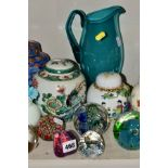 A GROUP OF GLASSWARES, GINGER JARS, PICTURES etc, to include a cranberry coloured jug, height
