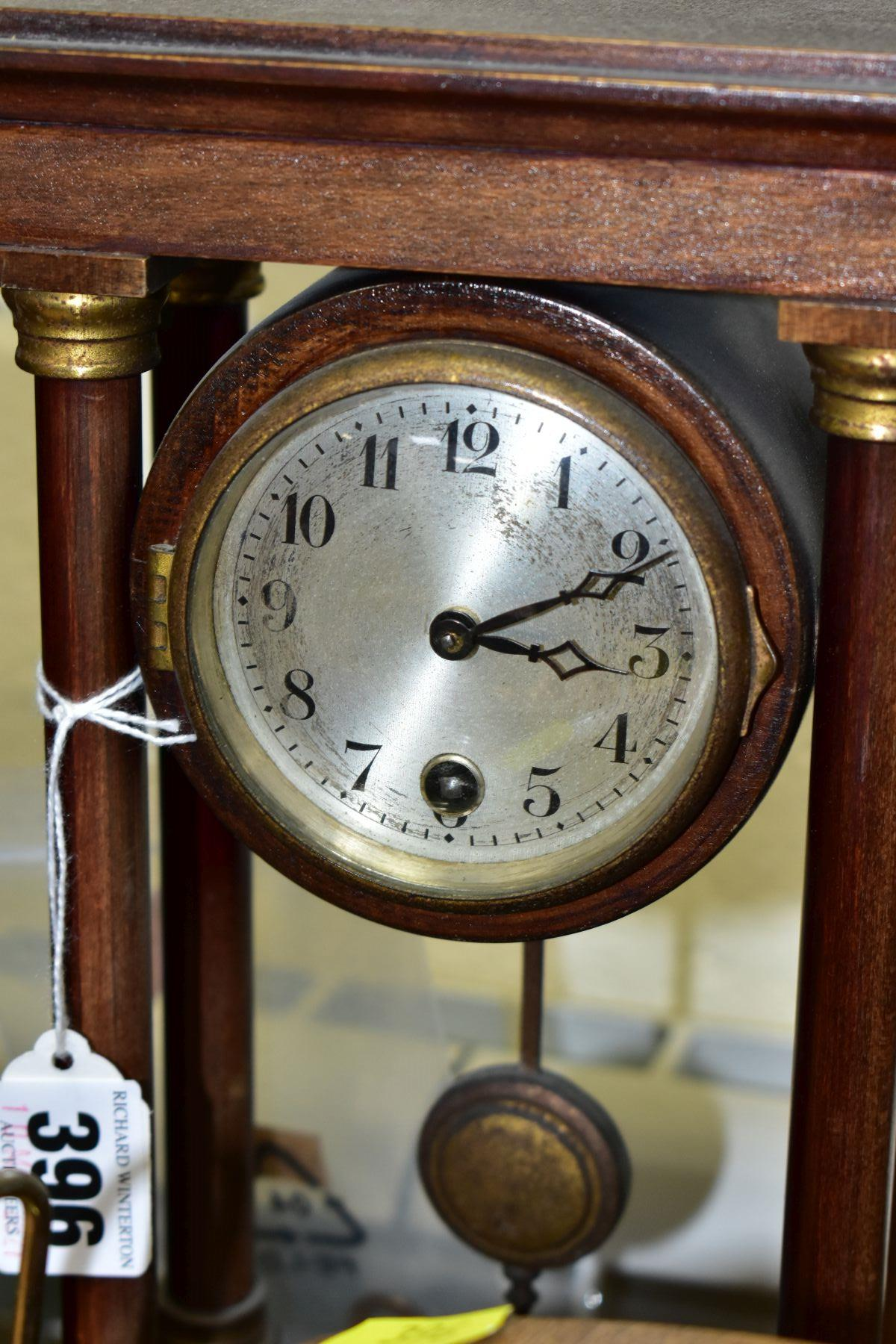 TWO MANTEL CLOCKS AND A BAROMETER, comprising an Edwardian portico mahogany stained mantel clock, - Image 5 of 6