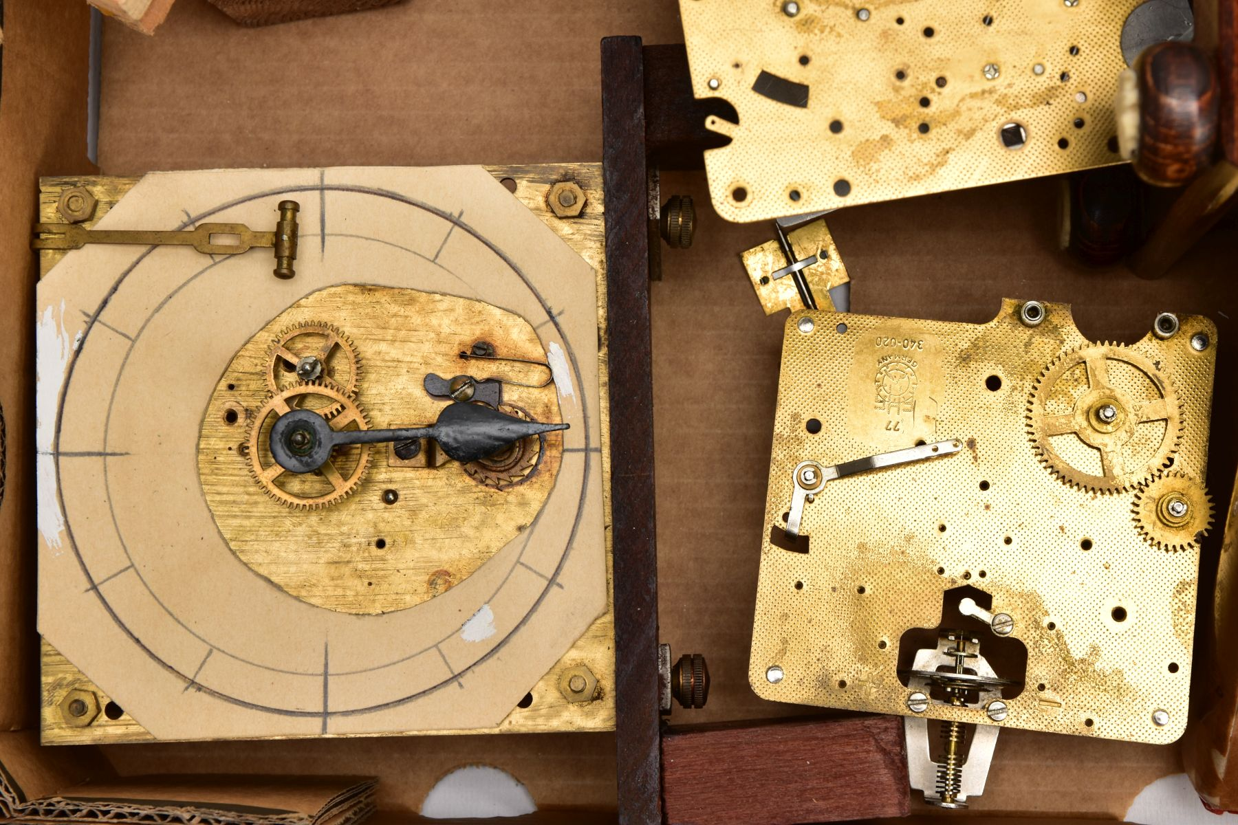 BOX CONTAINING A QUANTITY OF CLOCK PARTS AND MOVEMENTS, to include a wooden outer case with a - Image 3 of 6