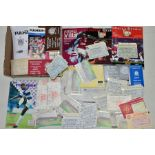 A QUANTITY OF ASSORTED FOOTBALL AND SPORTING EPHEMERA, to include letter signed by Harold Larwood,