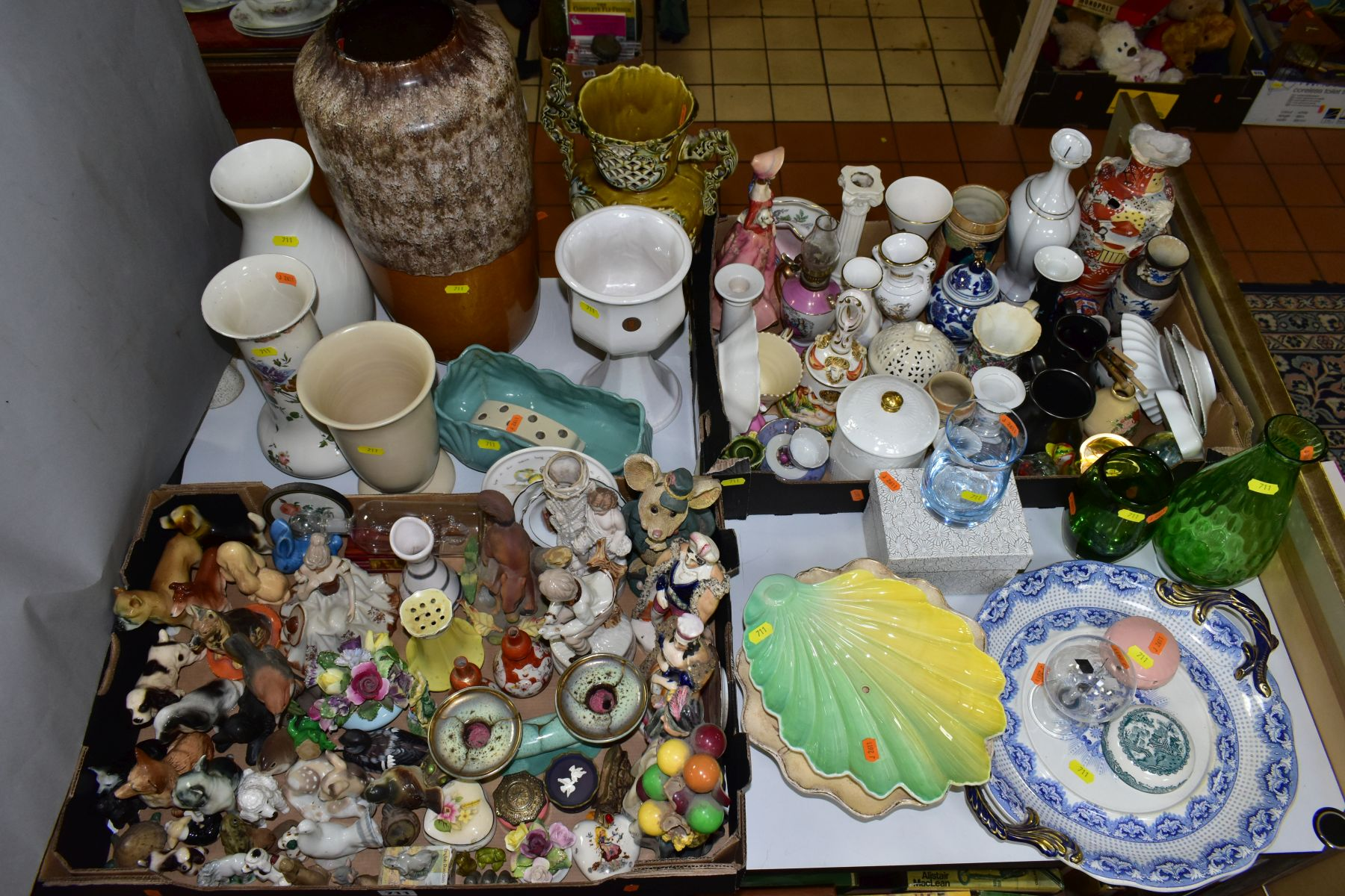 TWO BOXES AND LOOSE CERAMICS AND GLASSWARE, including animal bird and figural ornaments, two