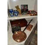 A GROUP OF ASSORTED ITEMS, including Wedgwood jasperware tea pot (lid has chips), hot water jug,