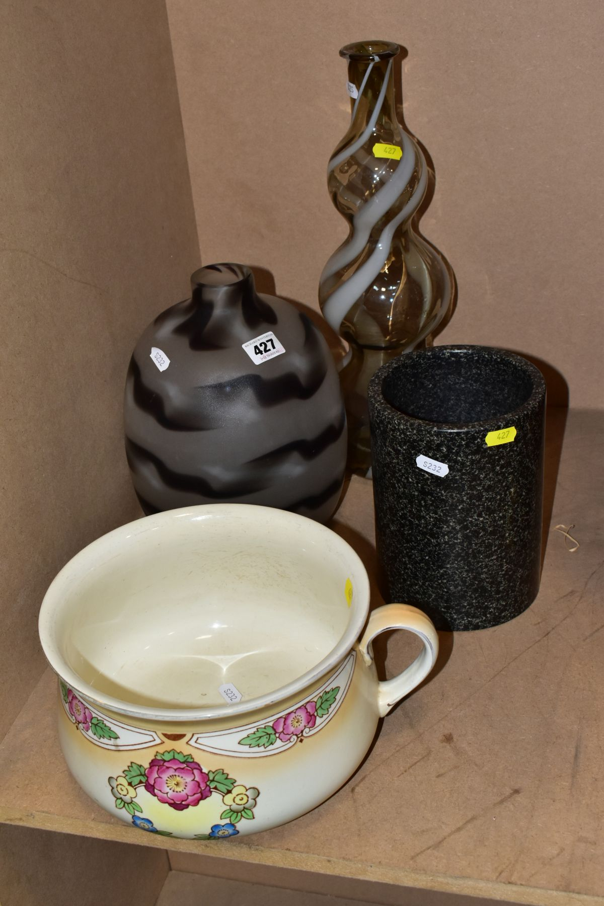 TWO STUDIO GLASS VASES, ETC, to include an unmarked narrow neck wythern pattern vase 40cm high, a