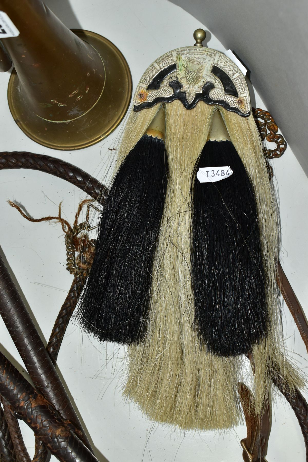 TWO LEATHER WHIPS, bone handles, metal mounts one with engraved coronet, worn condition, with a semi - Image 4 of 6