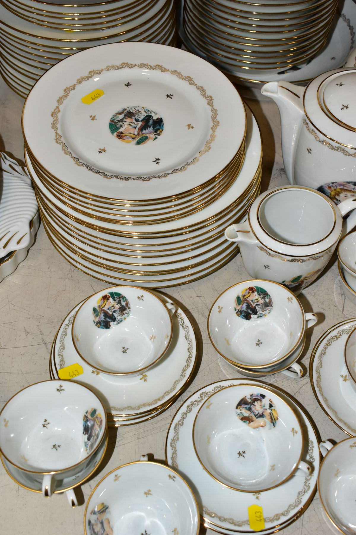 A LIMOGES 'RENOIR' DINNER SERVICE, marked to the base 'Veritable Porcelaine de Limoges Decor Reserve - Image 4 of 9