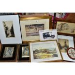 ENGRAVINGS AND PRINTS etc, to include 'Rouen' by Percy Westwood, a Continental scene indistinctly