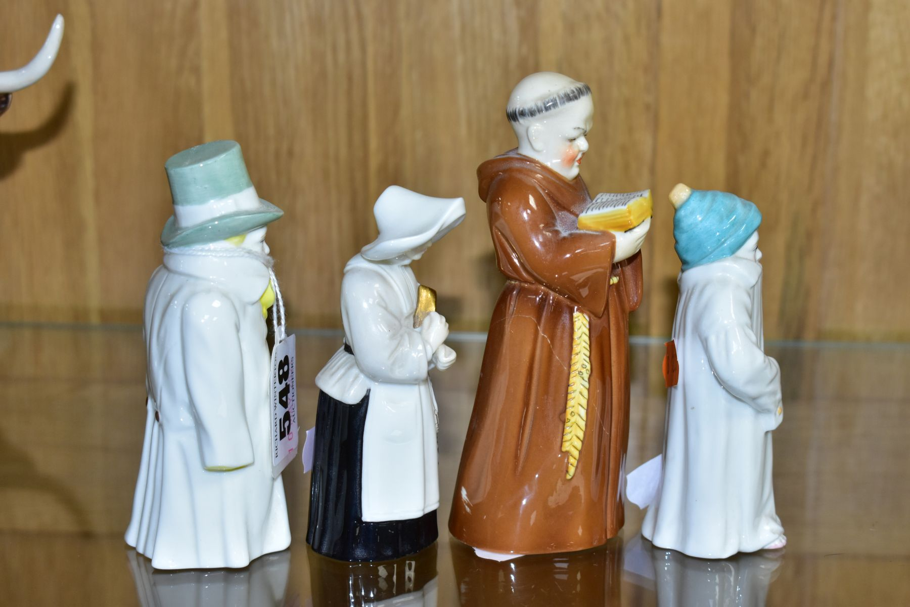 FOUR ROYAL WORCESTER CANDLE SNUFFERS, 'Budge', 'Toddie', a nun and a monk (cracked), tallest - Image 2 of 6