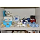 A GROUP OF ORNAMENTS, GIFT WARE, ETC, to include small Royal Worcester 'Enchantment' jug, height