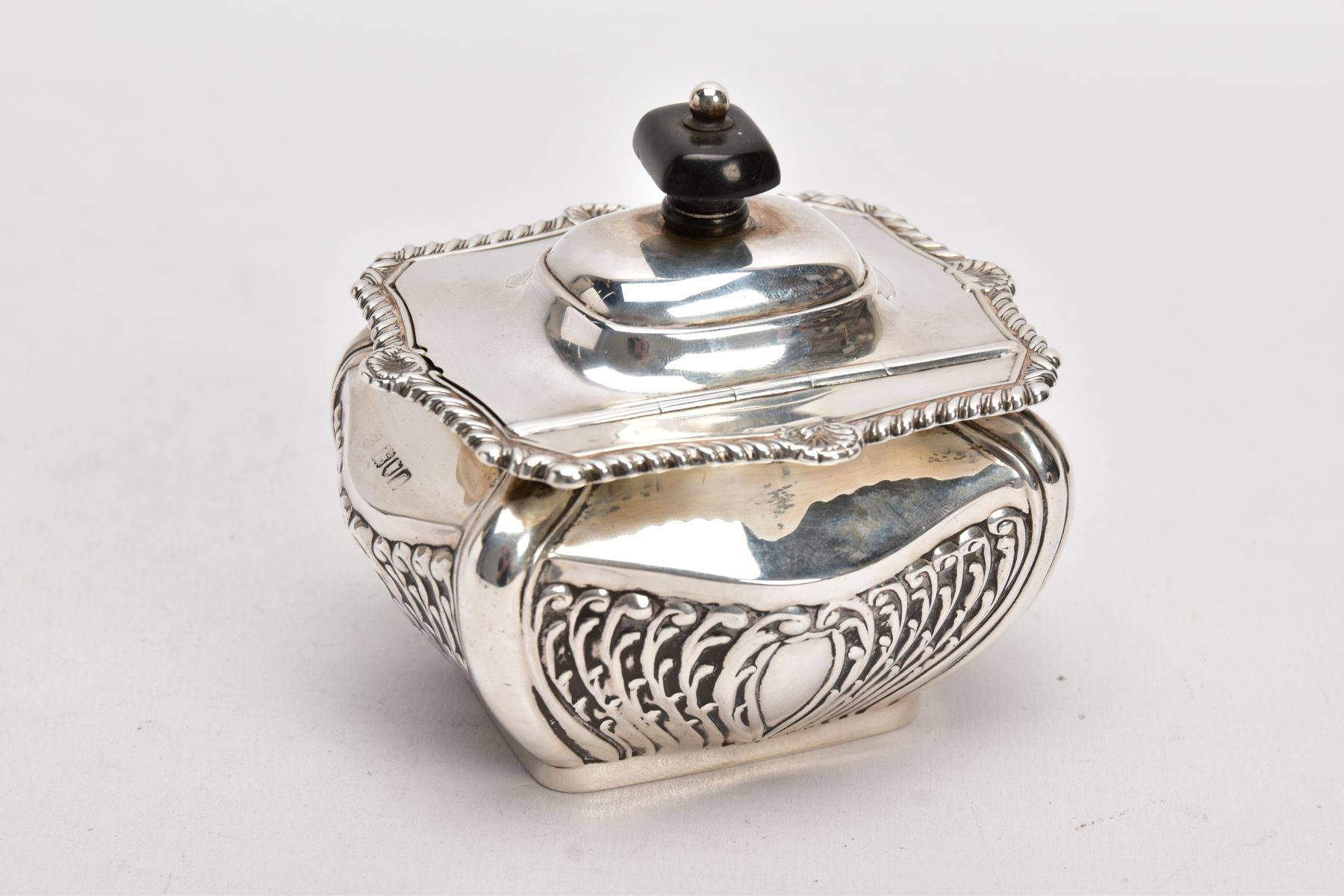 AN EDWARDIAN SILVER TEA CADDY, bomb shaped sucrier with hinged cover, gadrooned and shell cast - Image 2 of 6