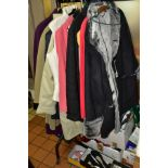 A COLLECTION OF LADIES CLOTHES, SHOES, HATS, SCARVES, BAGS, GLOVES, PURSES, including over nine