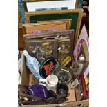 A BOX OF METALWARES, REPLICA ADVERTISING ITEMS, ETC, including a pestle and mortar, Guinness Stout