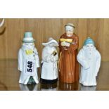 FOUR ROYAL WORCESTER CANDLE SNUFFERS, 'Budge', 'Toddie', a nun and a monk (cracked), tallest