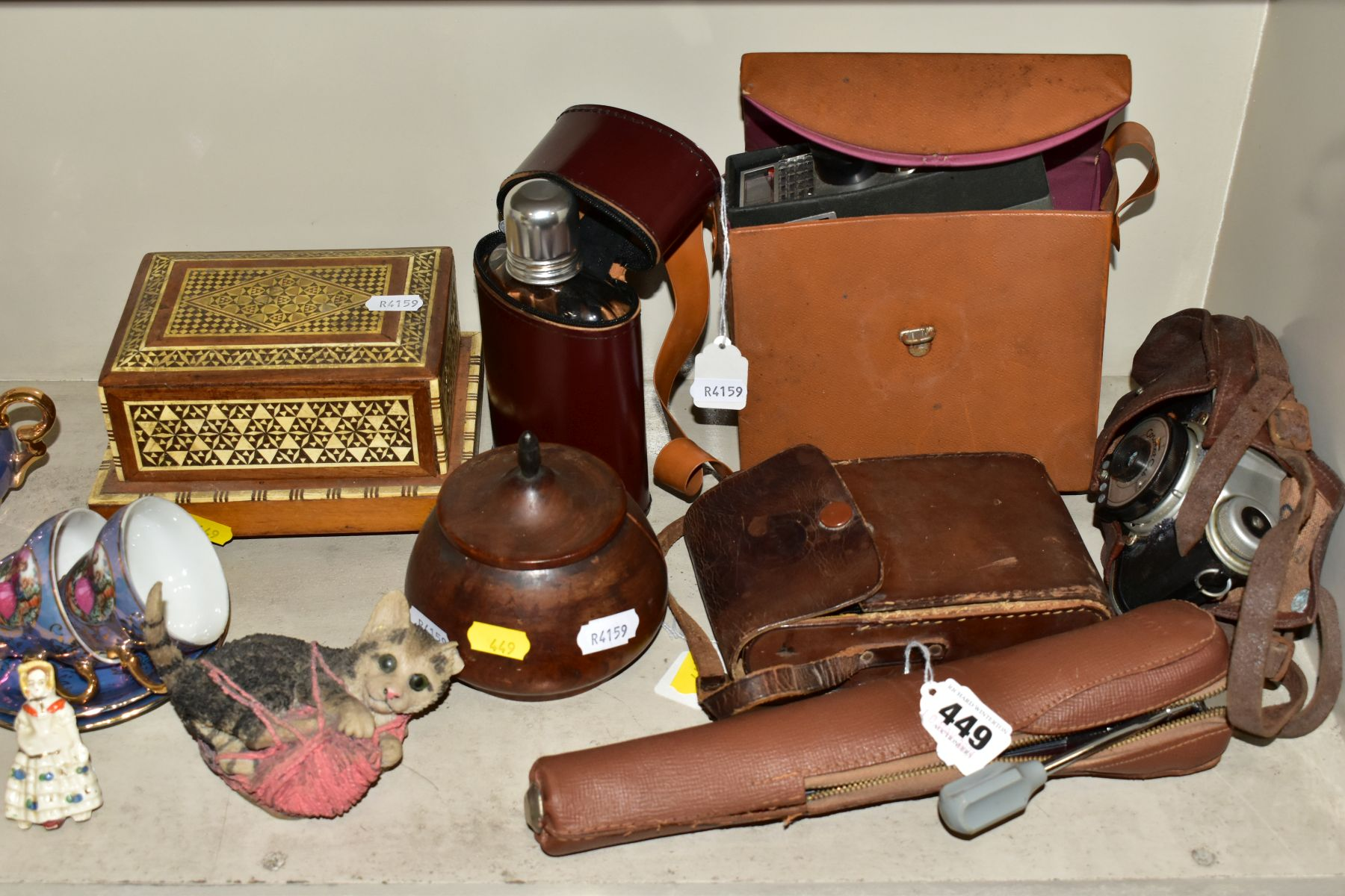 VARIOUS SUNDRY ITEMS, CONTINENTAL LUSTRE COFFEE SET, ETC, to include a Veleon tripod in carry