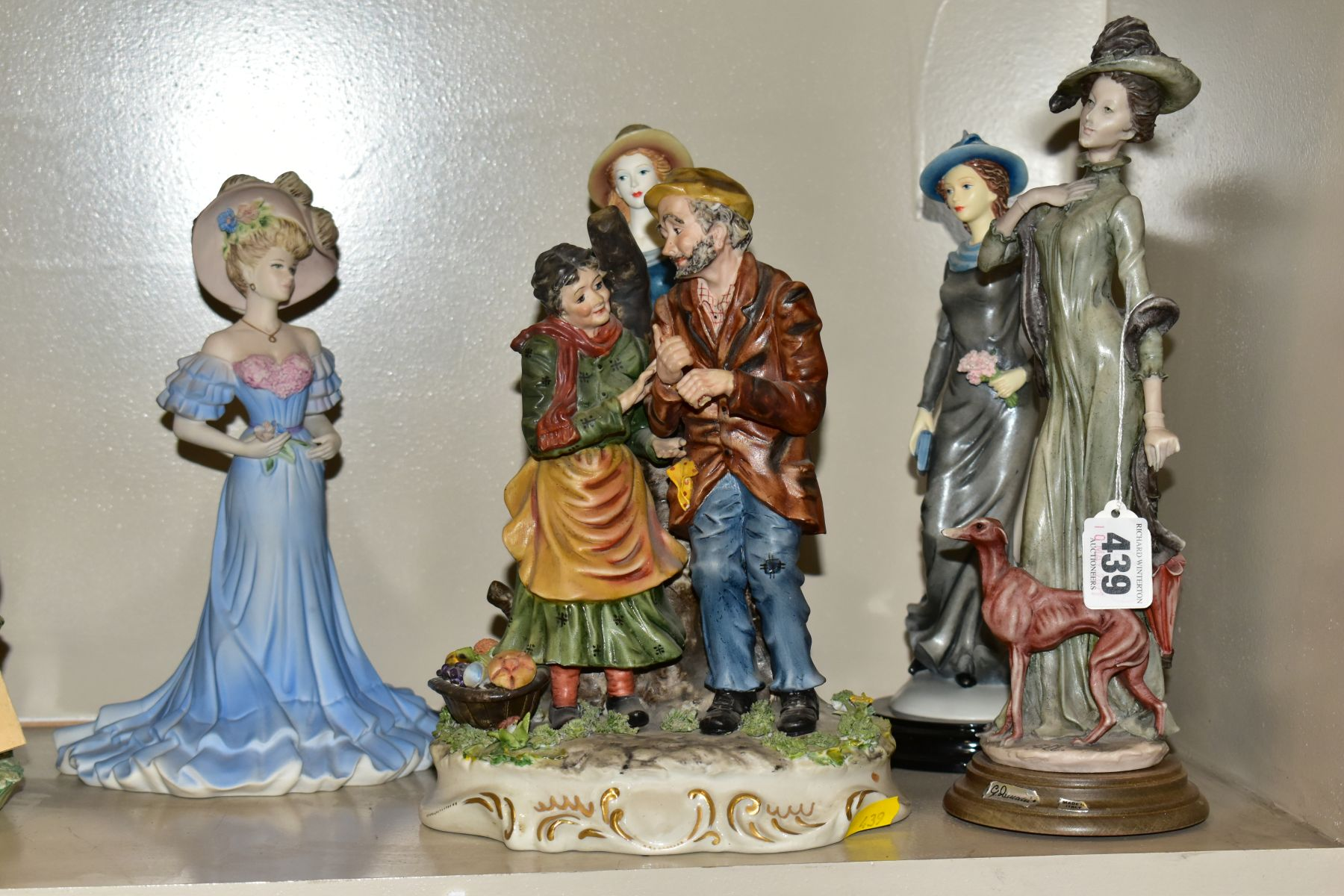 A GROUP OF CERAMIC FIGURES AND ORNAMENTS, including Capo Di Monte tramp on a bench, elderly - Image 2 of 16