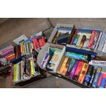 SEVEN BOXES OF ASSORTED BOOKS, including novels, cookery books, DIY books, motoring interest etc,