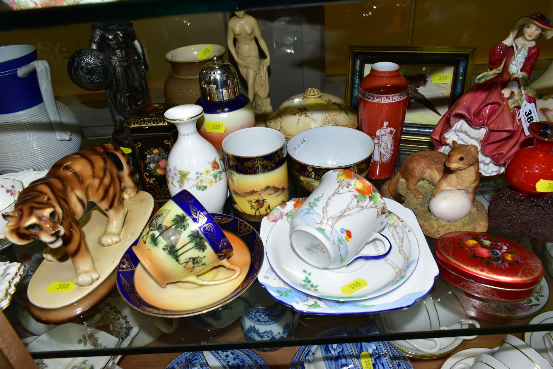 A GROUP OF CERAMICS, TINS etc, to include Royal Doulton figure 'Top O'the Hill' HN1834, Shelley - Image 11 of 11