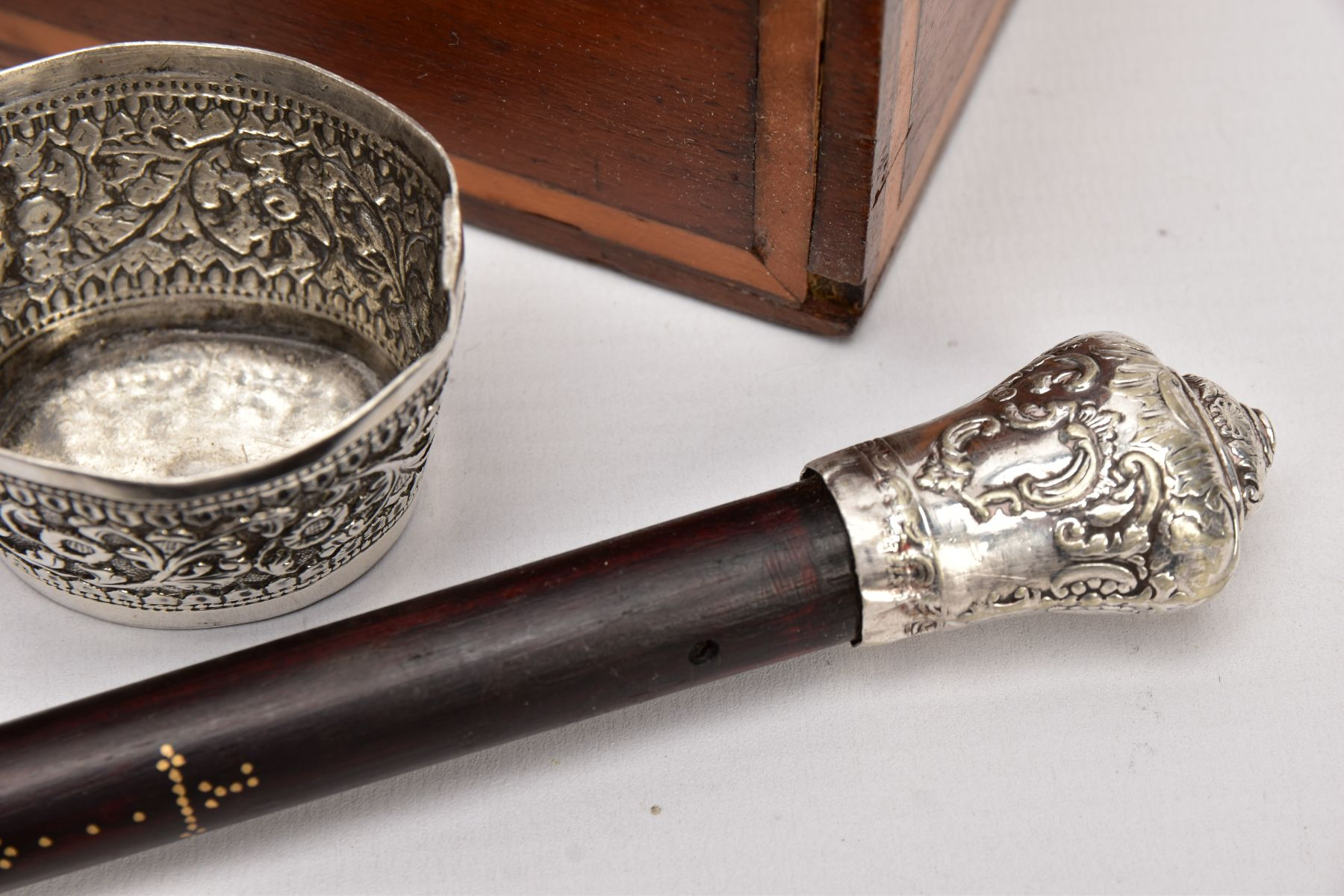 A BOX OF SILVER PLATE, COLLECTABLES AND OTHER METALWARES, including a small Indian white metal - Image 3 of 17